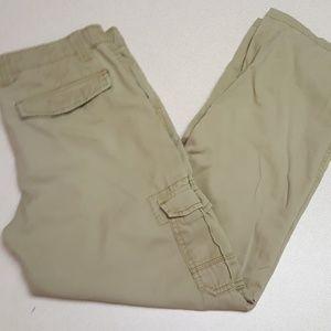 Khaki cargo pants with adjustable waist 16 H
